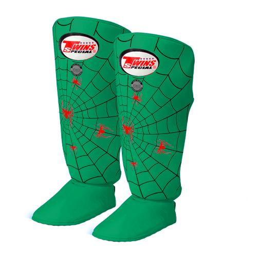 Twins Spider Shin Guards - Green - Premium Leather
