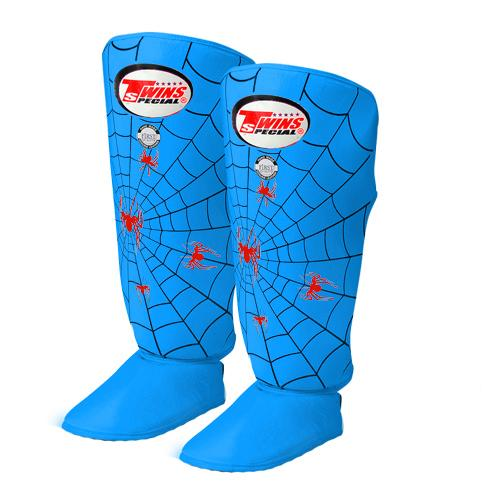 Twins Spider Shin Guards - Light Blue - Premium Leather
