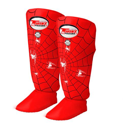 Twins Spider Shin Guards - Red - Premium Leather