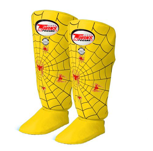 Twins Spider Shin Guards - Yellow - Premium Leather