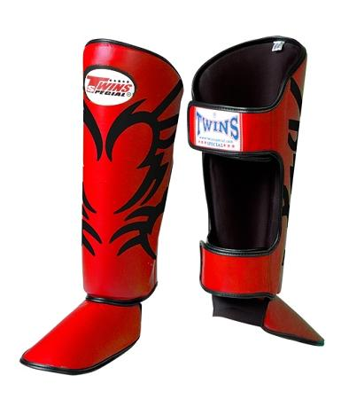 Twins Tattoo Shin Guards - Red Black - Premium Leather