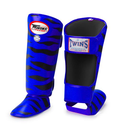 Twins Tiger Shin Guards - Blue Black - Premium Leather