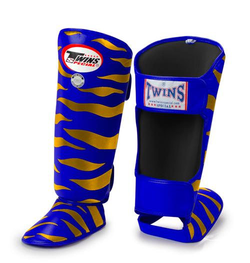 Twins Tiger Shin Guards - Blue Gold - Premium Leather