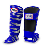Twins Tiger Shin Guards - Blue Silver - Premium Leather