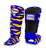 Twins Tiger Shin Guards - Blue Yellow - Premium Leather