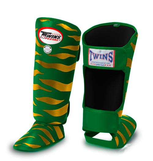 Twins Tiger Shin Guards - Green Gold - Premium Leather