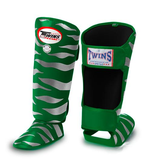 Twins Tiger Shin Guards - Green Silver - Premium Leather