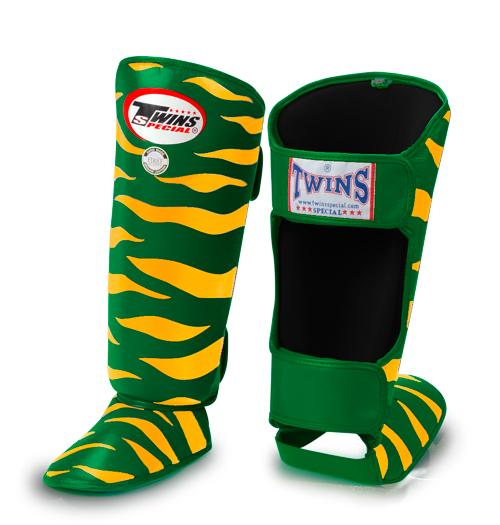 Twins Tiger Shin Guards - Green Yellow - Premium Leather
