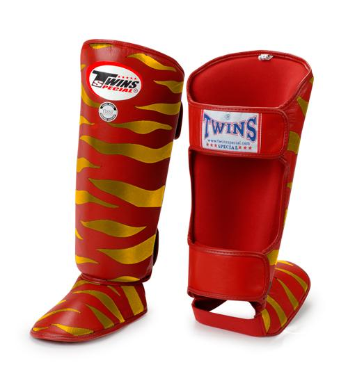 Twins Tiger Shin Guards - Red Gold - Premium Leather