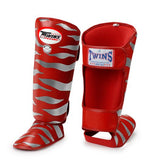 Twins Tiger Shin Guards - Red Silver - Premium Leather