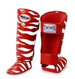 Twins Tiger Shin Guards - Red White - Premium Leather