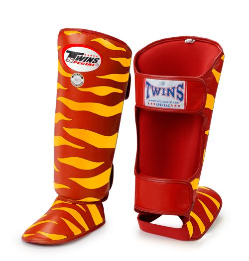 Twins Tiger Shin Guards - Red Yellow - Premium Leather