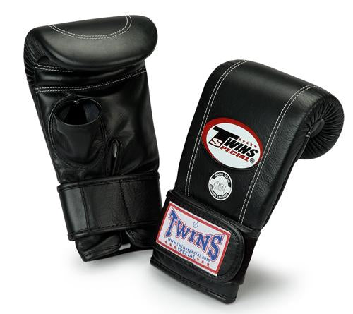 Twins Velcro Wrist Bag Gloves Open Thumb - Black