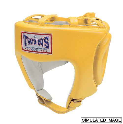 Twins Head Gear- Premium Leather w/ Chin - Yellow