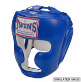Twins Full Face Head Gear- Premium Leather w/ Velcro - Blue