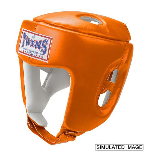 Twins Head Gear- Premium Leather Padded Top - Orange