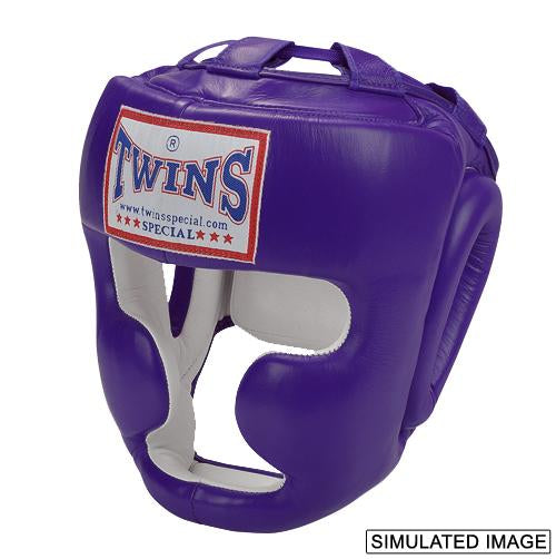 Twins Full Face Head Gear- Premium Leather w/ Lace Up - Purple