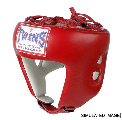 Twins Pro Head Gear- Premium Leather - Red