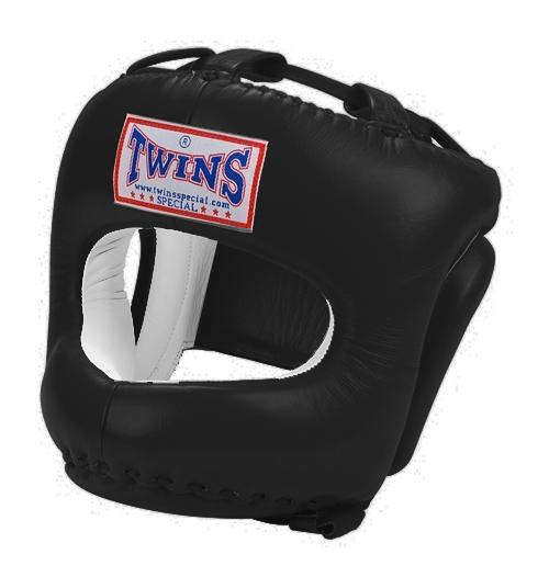 Twins Cage Head Gear- Premium Leather w/ Nose and Chin Guard (Black) - Black