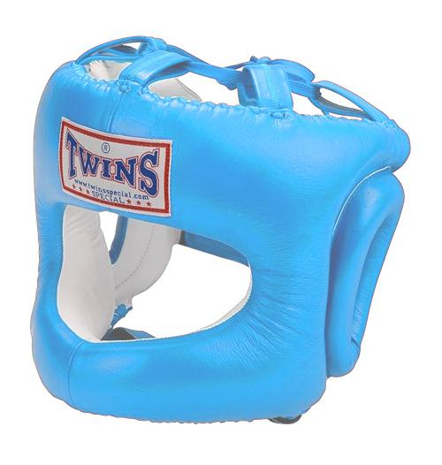Twins Cage Head Gear- Premium Leather w/ Nose and Cheek Guard - Light Blue