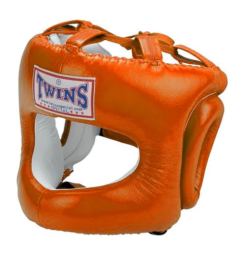 Twins Cage Head Gear- Premium Leather w/ Nose and Cheek Guard - Orange