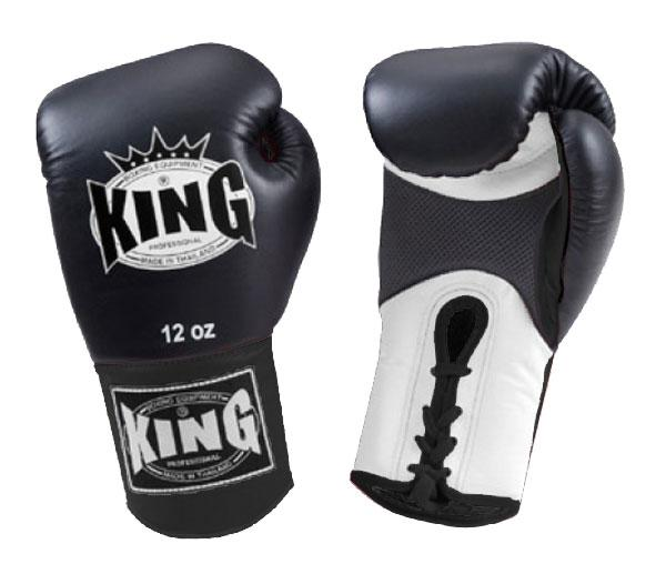KING Dual Color Boxing Gloves- Air Lace-Up- White-Black-Black- Premium Leather