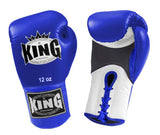 KING Dual Color Boxing Gloves- Air Lace-Up- White-Blue-Blue- Premium Leather