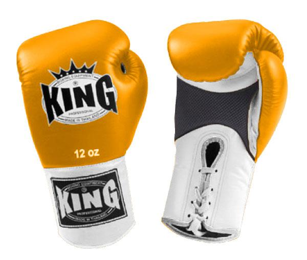 KING Dual Color Boxing Gloves- Air Lace-Up- White-Yellow-White- Premium Leather