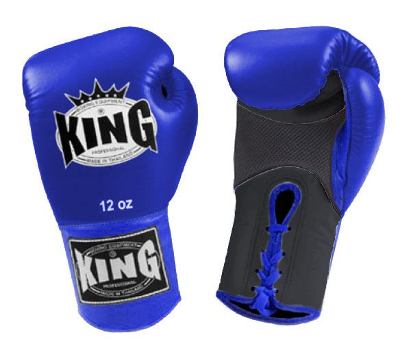KING Dual Color Boxing Gloves- Air Lace-Up- Black-Blue-Blue- Premium Leather