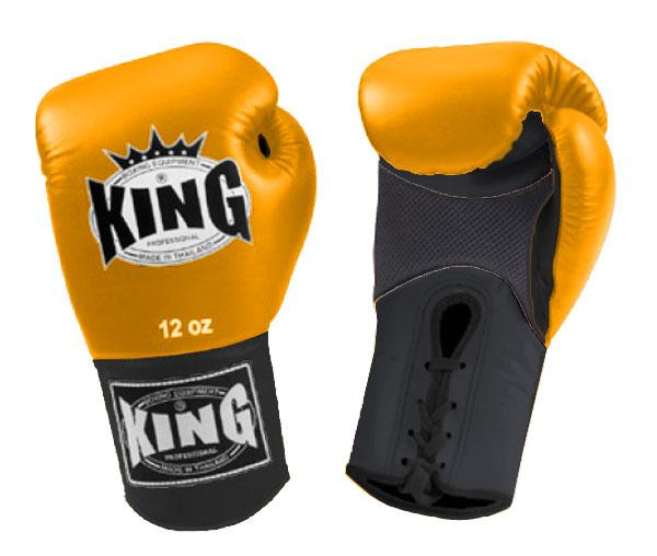 KING Dual Color Boxing Gloves- Air Lace-Up- Black-Yellow-Black- Premium Leather