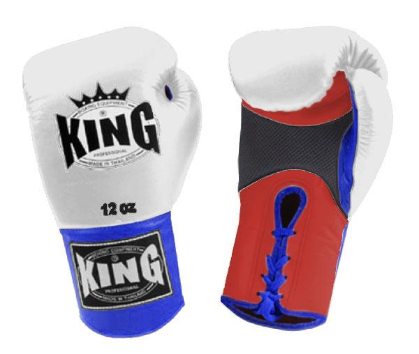 KING Triple Color Boxing Gloves- Air Lace-Up- Red-White-Blue- Premium Leather