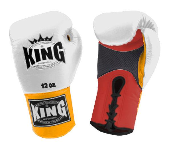 KING Triple Color Boxing Gloves- Air Lace-Up- Red-White-Yellow- Premium Leather