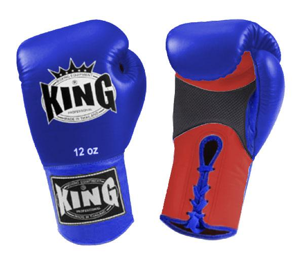 KING Dual Color Boxing Gloves- Air Lace-Up- Red-Blue-Blue- Premium Leather