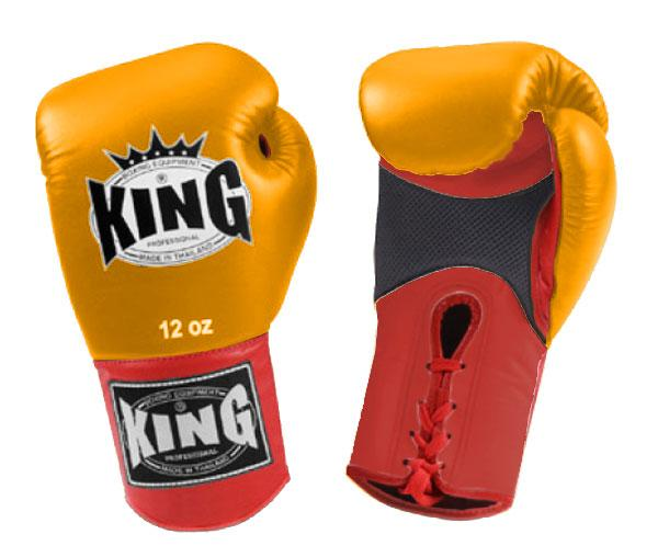 KING Dual Color Boxing Gloves- Air Lace-Up- Red-Yellow-Red- Premium Leather