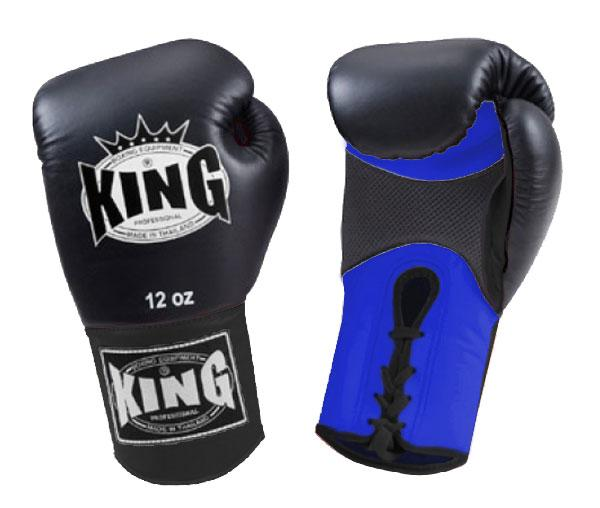 KING Dual Color Boxing Gloves- Air Lace-Up- Blue-Black-Black- Premium Leather