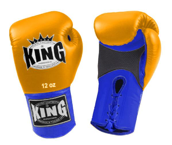 KING Dual Color Boxing Gloves- Air Lace-Up- Blue-Yellow-Blue- Premium Leather