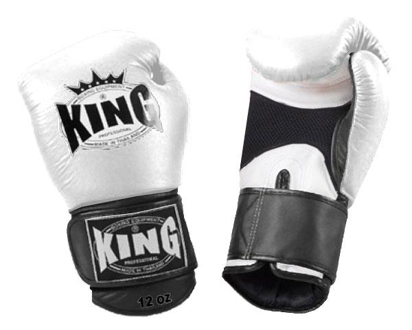 KING Dual Color Boxing Gloves- Air Velcro- White-White-Black- Premium Leather