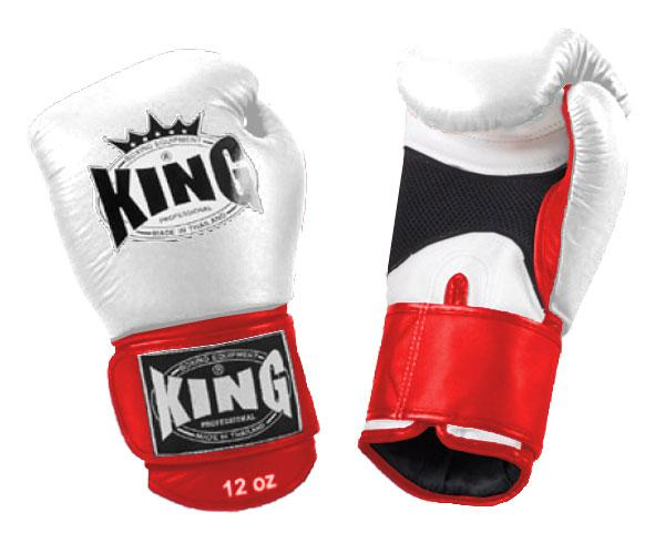 KING Dual Color Boxing Gloves- Air Velcro- White-White-Red- Premium Leather