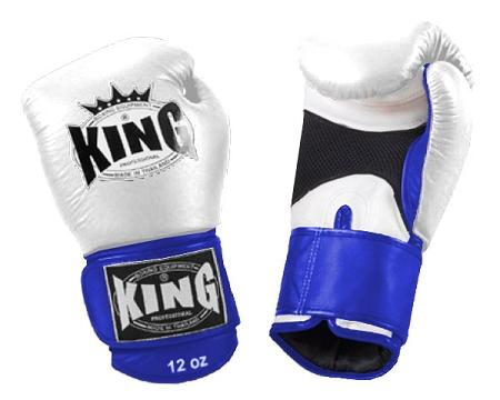 KING Dual Color Boxing Gloves- Air Velcro- White-White-Blue- Premium Leather