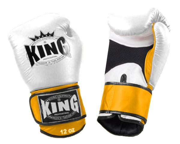KING Dual Color Boxing Gloves- Air Velcro- White-White-Yellow- Premium Leather