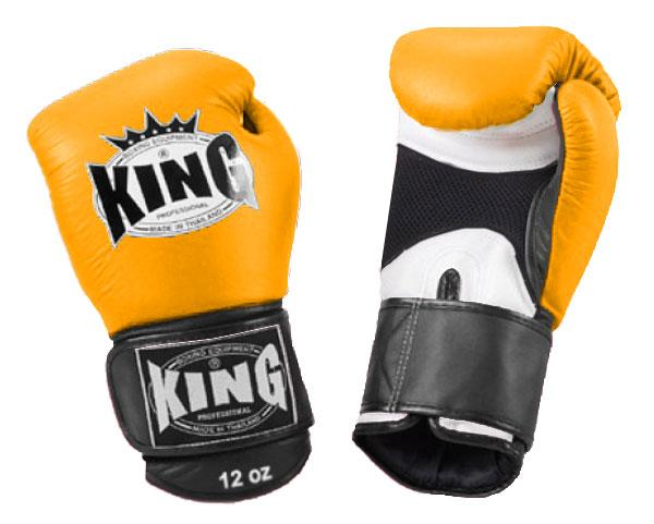 KING Triple Color Boxing Gloves- Air Velcro- White-Yellow-Black- Premium Leather