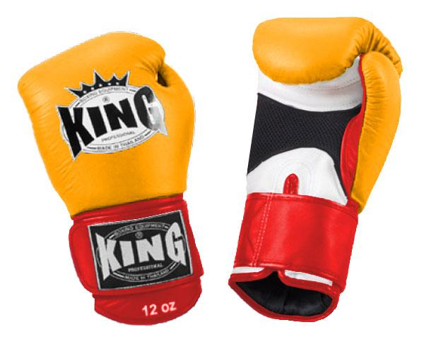 KING Triple Color Boxing Gloves- Air Velcro- White-Yellow-Red- Premium Leather