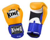 KING Triple Color Boxing Gloves- Air Velcro- White-Yellow-Blue- Premium Leather
