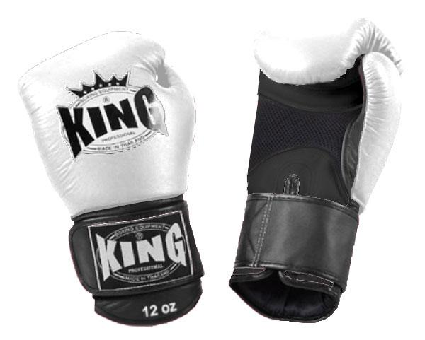 KING Dual Color Boxing Gloves- Air Velcro- Black-White-Black- Premium Leather