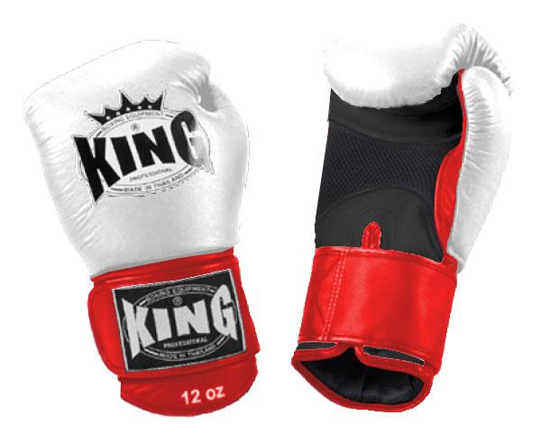 KING Triple Color Boxing Gloves- Air Velcro- Black-White-Red- Premium Leather