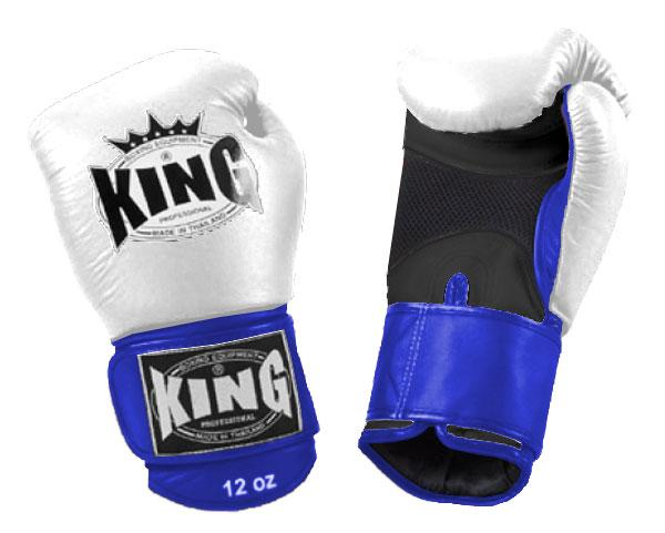 KING Triple Color Boxing Gloves- Air Velcro- Black-White-Blue- Premium Leather