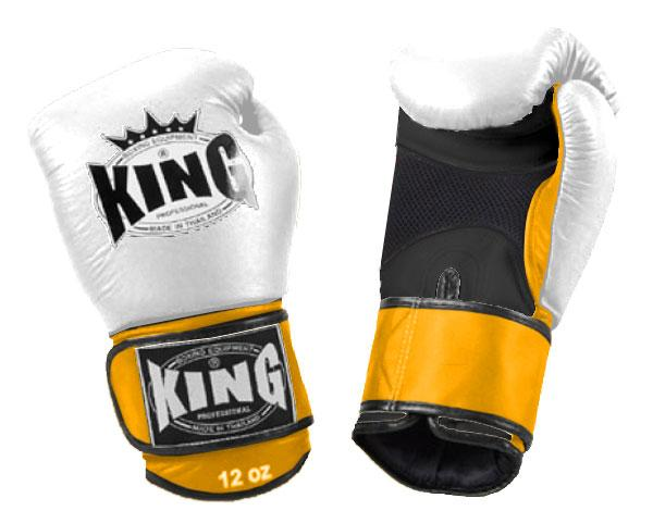 KING Triple Color Boxing Gloves- Air Velcro- Black-White-Yellow- Premium Leather