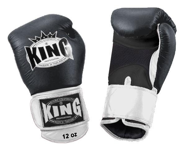 KING Dual Color Boxing Gloves- Air Velcro- Black-Black-White- Premium Leather