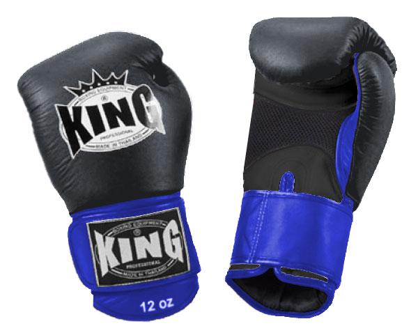 KING Dual Color Boxing Gloves- Air Velcro- Black-Black-Blue- Premium Leather
