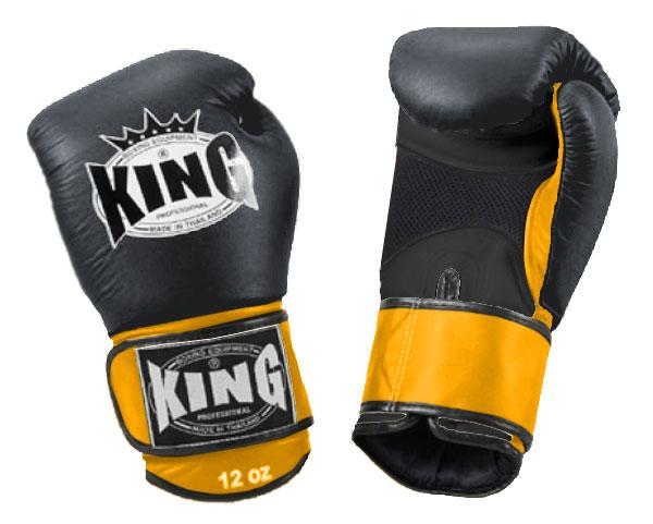 KING Dual Color Boxing Gloves- Air Velcro- Black-Black-Yellow- Premium Leather
